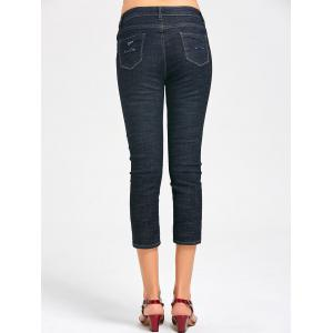 Holes Fishnet Panel Capri Jeans - Noir Bleu XL