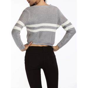Gray One Size Striped Cropped Sweater | RoseGal.com