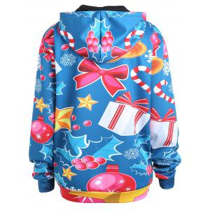 Plus Size Christmas Elk Santa Claus Hoodie - LIGHT BLUE 3XL