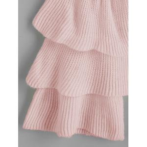 Layered Sleeve Flouncy Pullover Sweater - PINK ONE SIZE