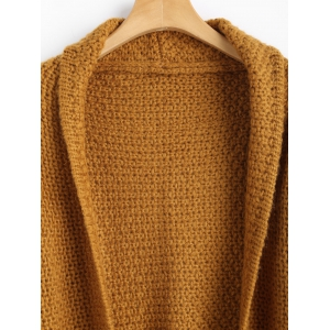 Open Front Curled Sleeve Batwing Cardigan - LIGHT COFFEE ONE SIZE