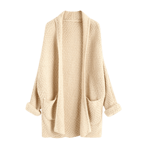 Open Front Curled Sleeve Batwing Cardigan - LIGHT APRICOT ONE SIZE