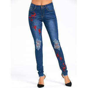 Distressed Plum Flower Embroidery Jeans -