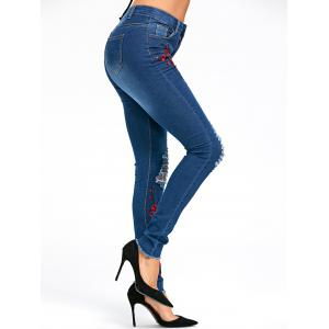 Distressed Plum Flower Embroidery Jeans - BLUE M
