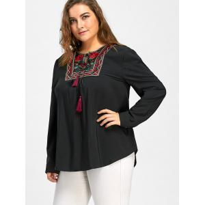 Plus Size Notched Smock Embroidered Blouse -