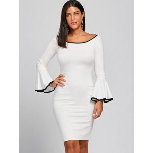 Boat Collar Bell Sleeve Bodycon Dress -