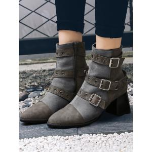 Ankle Chunky Multi Buckle Straps Boots -