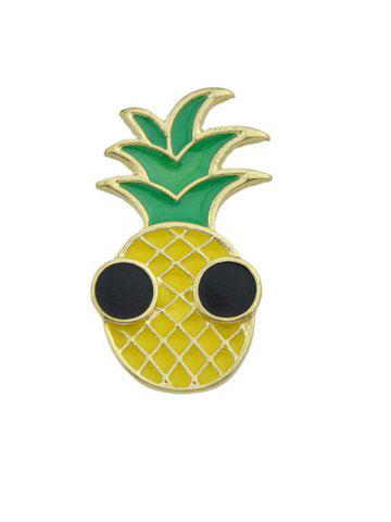 Cheap Funny Fruit Pineapple Embellished Brooch YELLOW