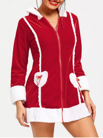 Latest Long Sleeve Hooded Zip Christmas Dress