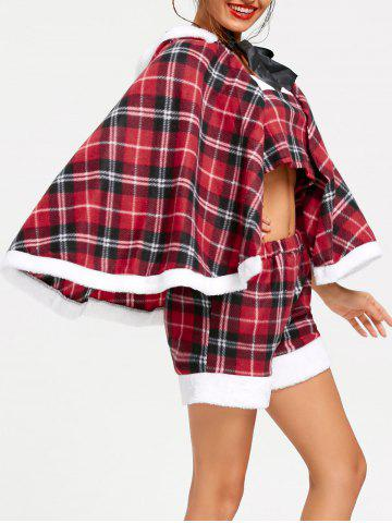 Best Christmas Checked Hooded Cape RED ONE SIZE
