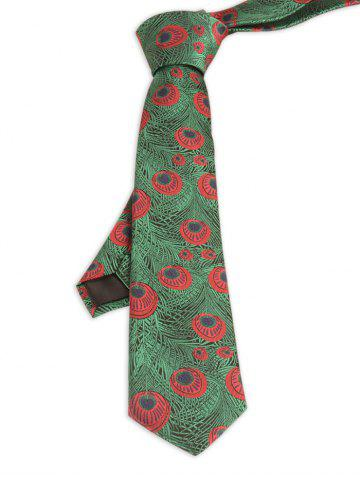 Hot Vintage Peacock Feather Skinny Necktie GRASS GREEN