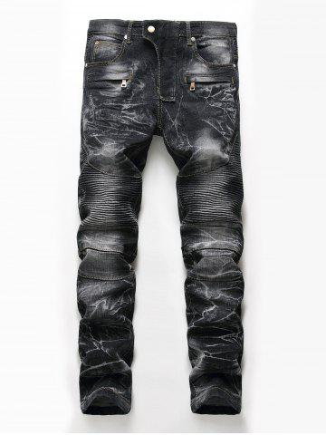 Fancy Straight Leg Snow Wash Biker Jeans BLACK 42