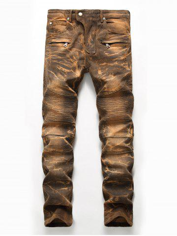 Best Straight Leg Tie Dye Biker Jeans - 32 EARTHY Mobile