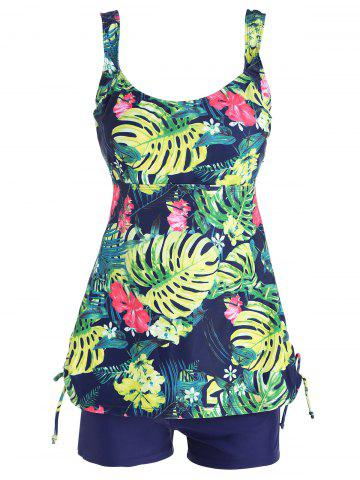 Cheap Tropical Print Plus Size Tankini Swimwear COLORMIX 2XL
