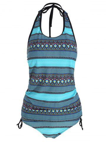 Ensemble Tribal Print Backless Plus Size Tankini Multicolore 2XL