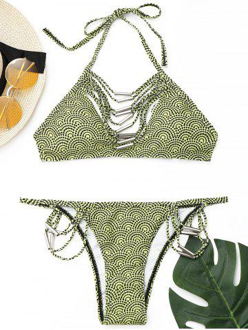 Unique Strappy Halter Bikini Set BLUISH YELLOW S