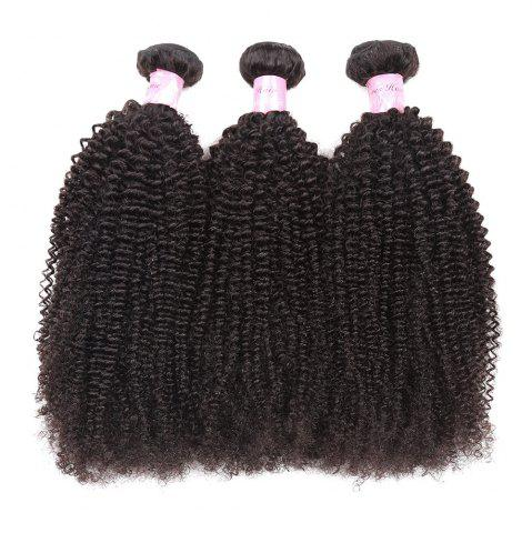 Latest 1Pc Shaggy Afro Kinky Curly Peruvian Human Hair Weave - 16INCH NATURAL BLACK Mobile