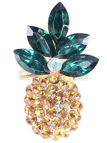 Online Rhinestone Insert Pineapple Shape Brooch YELLOW