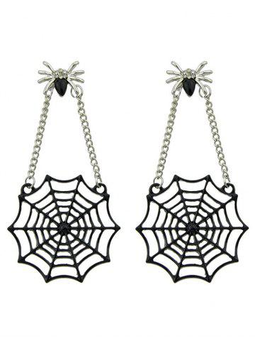 Trendy Spider Web Pendant Embellished Stud Drop Earrings