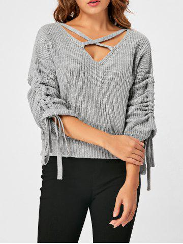 Discount Drop Shoulder Ruched Criss Cross Sweater GRAY XL