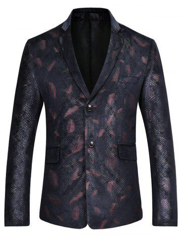 Online Lapel Feather Print Casual Blazer RED L