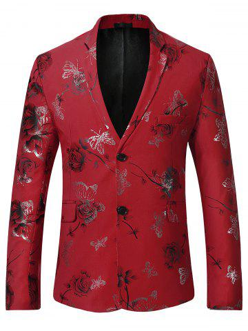 Unique Metallic Butterfly Floral Print Casual Blazer