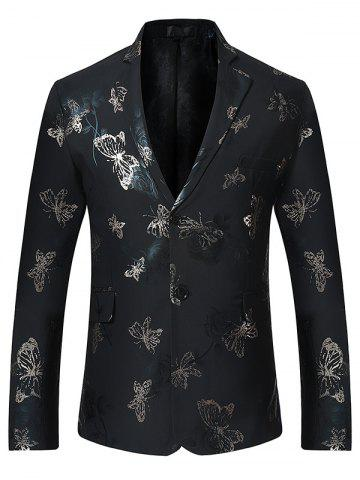 Outfits Metallic Butterfly Floral Print Casual Blazer - XL BLACK Mobile