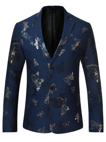 New Metallic Butterfly Floral Print Casual Blazer - XL BLUE Mobile