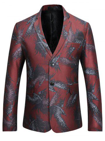 Online Two-button Eagle Print Casual Blazer - M RED Mobile