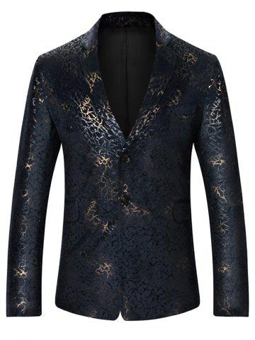 Affordable Metallic Brocade Print Casual Blazer COLORMIX L