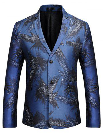 Affordable Two-button Eagle Print Casual Blazer BLUE S