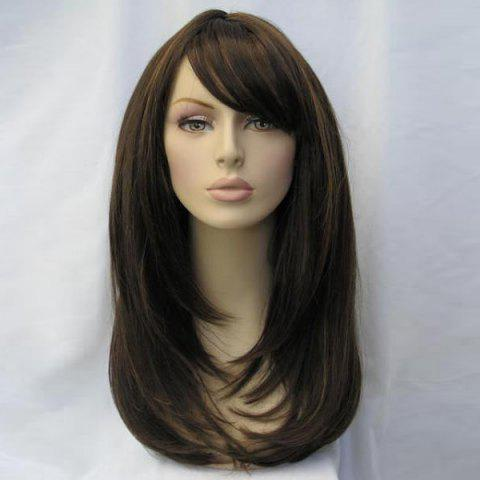 Trendy Long Inclined Bang Layered Straight Synthetic Wig - BROWN  Mobile