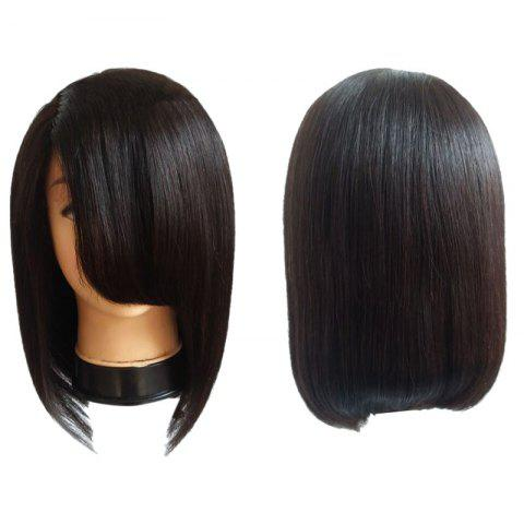 Shop Medium Side Fringe Straight Bob Synthetic Wig - BLACK  Mobile