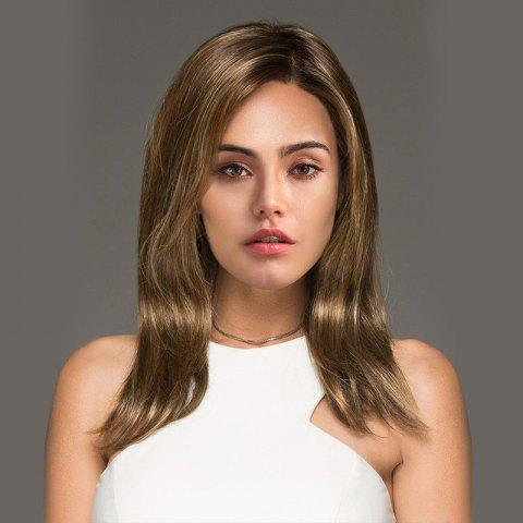 Best Medium Colormix Side Parting Straight Synthetic Wig COLORMIX