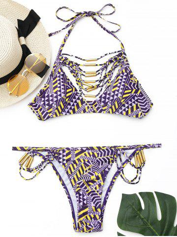 Trendy Strappy Halter Bikini Set PURPLE L