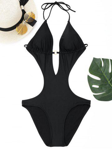 Fancy Halter Deep V One Piece Swimwear - S BLACK Mobile