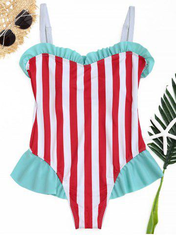 Chic Striped Ruffle One Piece Swimwear - L COLORMIX Mobile