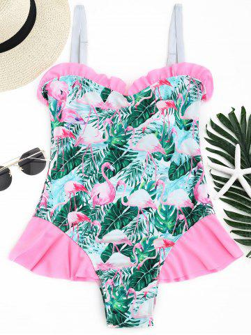 Outfit Flamingo Tropical Print Ruffled Swimwear - L COLORMIX Mobile