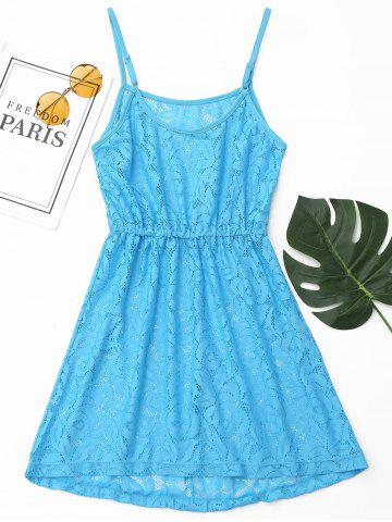 Outfits Lace Cover Up Cami Dress BLUE L