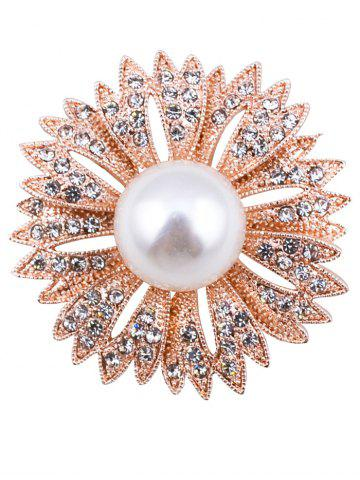 Cheap Sparkly Rhinestoned Faux Pearl Floral Brooch GOLDEN