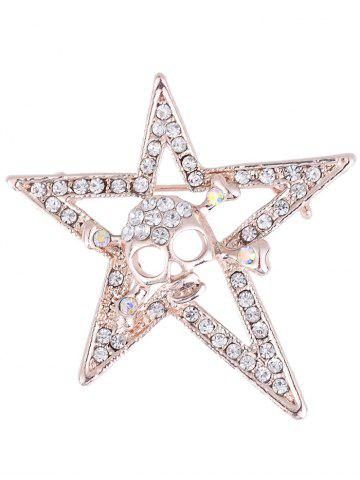 Trendy Rhinestone Insert Halloween Skull Star Alloy Brooch GOLDEN