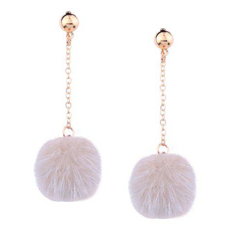 Discount Fuzzy Ball Alloy Chain Drop Stud Earrings