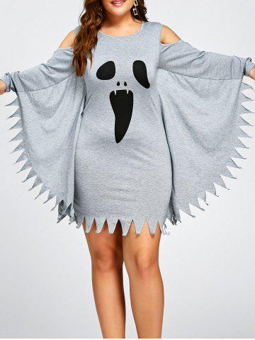 Fancy Halloween Plus Size Bat Wing Ghost Print Dress