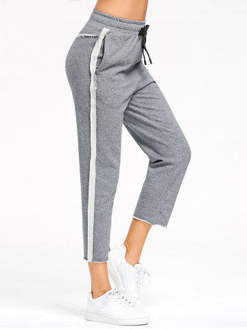 Best Pockets Marled Cropped Sweat Pants - L GRAY Mobile