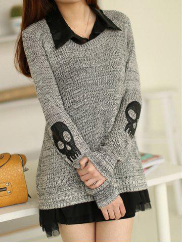 Shop Skull Sweater with Shirt Dress GRAY ONE SIZE