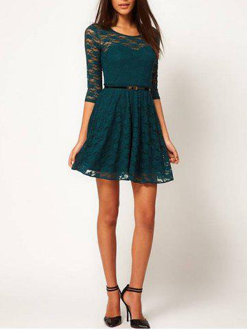 Outfit Lace See Thru A Line Dress - XL BLACKISH GREEN Mobile