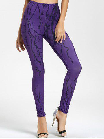 Outfit Ugly Halloween Branches Print Skinny Leggings PURPLE M
