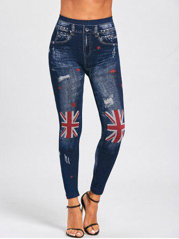 Faux Denim British Flag Print Leggings