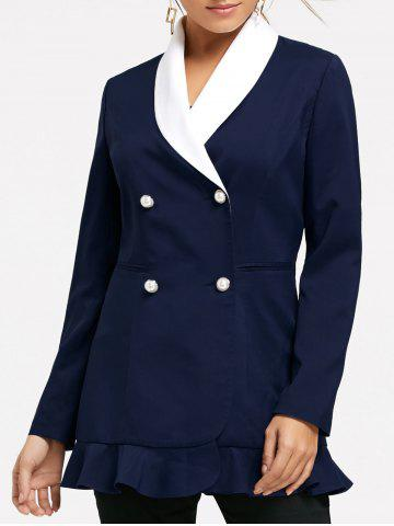 Sale Shawl Collar Double Breast Peplum Blazer - M CERULEAN Mobile