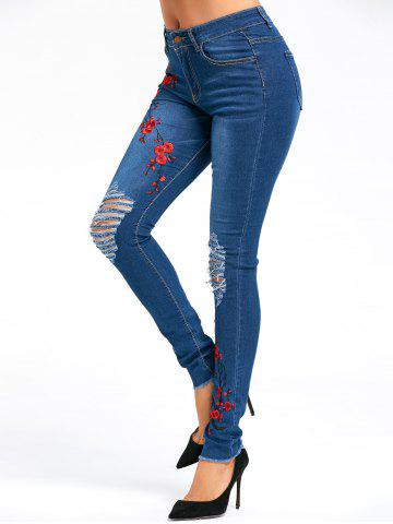Cheap Distressed Plum Flower Embroidery Jeans BLUE L